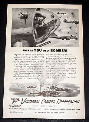 1944 Old Magazine Print Ad, Universal Camera, This Is You In A Bomber, Art Work! • 9.30£