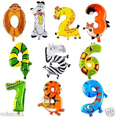 Animals Number Foil Balloons Kids Party Birthday Wedding Decor Balloon Delicate • 1.49£
