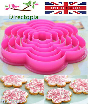 6 Flower Shaped Cookie Icing Fondant Cake Decorating Cutter Set Kitchen Tool • 4.20£