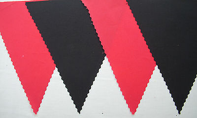RED & BLACK FABRIC BUNTING BANNER FLAGS FOOTBALL WEDDING DECORATION 4Mt Or More  • 5.95£