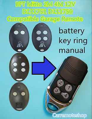 AU19.99 • Buy BFT Mitto 2M 4M 12V D111751 D111750 Compatible Garage/Gate Remote