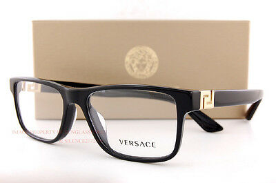 4fcbd5a453b3 Brand New VERSACE Eyeglasses Frames 3211 GB1 BLACK For Men 100% Authentic  SZ 55 •