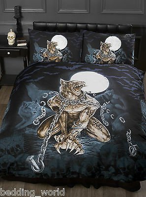 King Size Loups Garou Duvet Cover Set Alchemy Gothic Werewolf Moon Bats Black • 43.99£