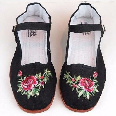 £7.25 • Buy Women's Chinese Mary Jane Floral Cotton Shoes Slippers Black - Sizes 5-12 New
