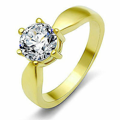 $9.77 • Buy Solitaire Engagement Ring 7MM CZ Round Gold Plated Stainless Steel