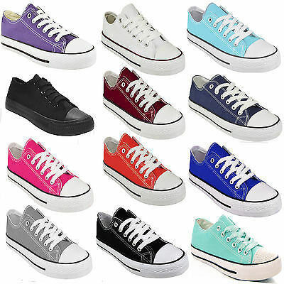 £8.99 • Buy Ladies Womens Flat Girls Plimsolls Pumps Trainer Lace Up Canvas Shoes Trainers