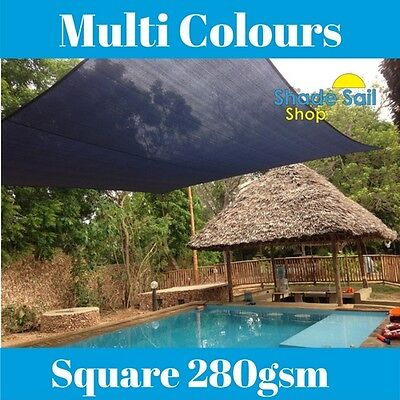 AU85 • Buy Square Shade Sail 280GSM Multi Sizes SAND BLACK GREY 95% UV 280GSM Sun Sails