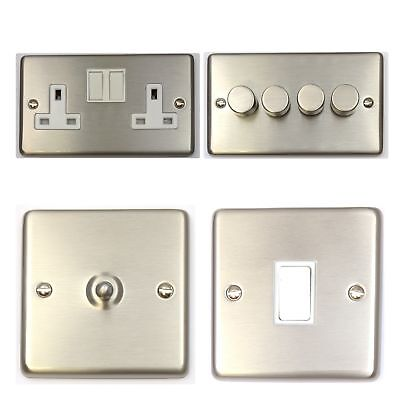 Brushed Stainless Steel CSSW Light Switches, Plug Sockets, Dimmers, Cooker, Fuse • 13.50£