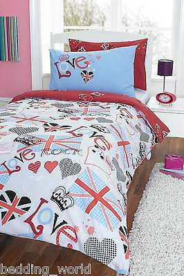 Punk Rocker Love Uk Union Jack Flag Hearts Red Blue Black Bedding Or Curtains • 23.99£