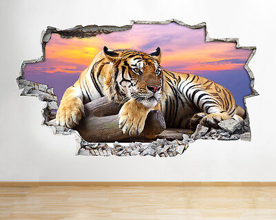 Wall Stickers Tiger Sunset Animal Vinyl Smashed Livingroom Mural Decal 3D Art • 22.99£