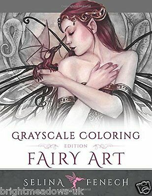 Fairy Art Greyscale Adult Colouring Book Creative Therapy Fantasy Mystical Magic • 10.69£