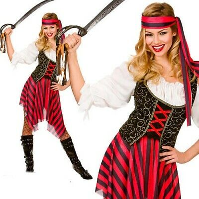 Ladies Pirate Fancy Dress Costume High Seas Caribbean Wench Outfit UK 6-28 • 13.99£