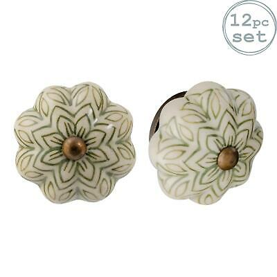 Ceramic Door Knobs Cabinet Drawer Handle Set, Vintage Flower, Green - X12 • 22.99£