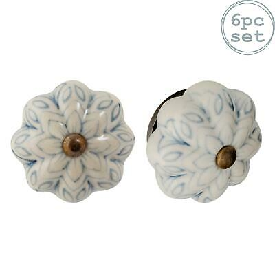Ceramic Door Knobs Cabinet Drawer Handle Set, Vintage Flower, Grey/ Blue - X6 • 14.99£