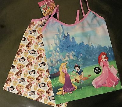 Girls 2 Pack Cami Vests With Disney Snow White, Ariel And Rapunzel Detail • 5.99£