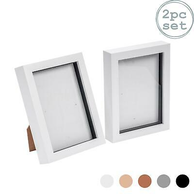 Box Picture Frame Deep 3D Photo Display 5x7 Inch Standing Hanging White X2 • 10.99£
