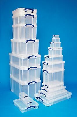 Sizes 11 - 25 Litre Really Useful Boxes CD DVD A4 A3 LP FILES Clear Storage Box • 9.47£