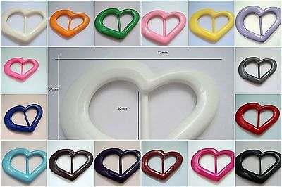 £1.60 • Buy 1x30mm LARGE COAT BELT DRESS HEART PLASTIC SLIDER BUCKLE MADE IN ITALY COLOURFUL