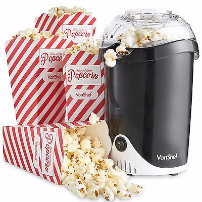VonShef Popcorn Maker Machine Retro Hot Air Popper Healthy Snack With 4 Boxes • 22.99£
