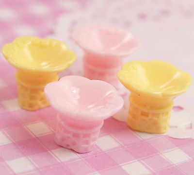 6 X Cute Ice Cream Cone Blanks Kawaii 3D Cabochon Beads Decoden UK SELLER • 1.25£