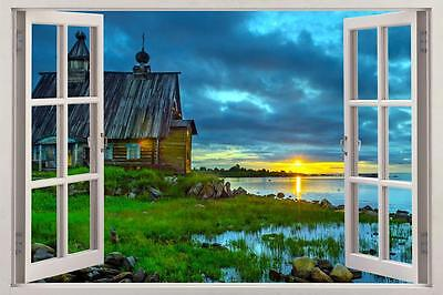 $22.94 • Buy Cabin Sunset 3D Window View Decal WALL STICKER Decor Art Mural Scenic View Lake