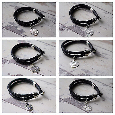 Personalised Leather Bracelet & 925 Silver SAINT Christopher ENGRAVED GIFT • 46.49£