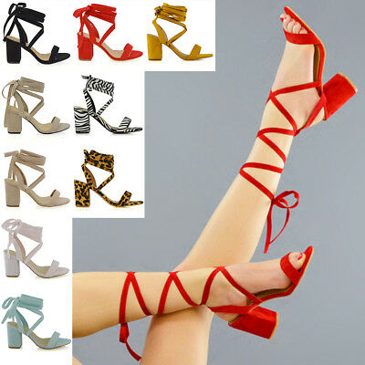 £18.99 • Buy Womens Lace Up Block Mid Heel Ankle Tie Wrap Lace Up Strappy Sandal Shoes Size