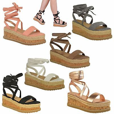 £15.99 • Buy Womens Ladies Flatform Cork Espadrille Wedge Sandals Ankle Lace Up Shoes Size