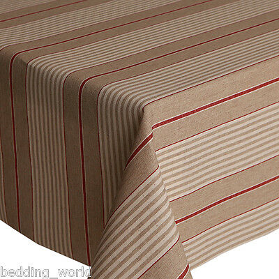 Acrylic Coated Table Cloth Harbour Red Stripe French Ticking Linen Wipe Able • 24.99£