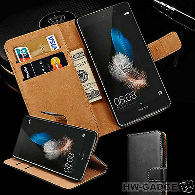 Genuine Real Leather Slim Flip Wallet Case Cover For Huawei Mobile Phones • 4.99£
