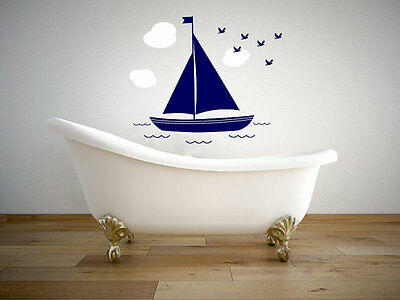 Sailboat With Clouds And Birds Nautical Wall Vinyl Decal Wall Graphics 25  Tall  • 24.37£