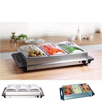 £44.99 • Buy 300w Stainless Steel 3x 2.5L Pan Large Buffet Food Server Warmer Hot Plate Tray