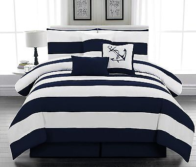 $ CDN94.95 • Buy 7 Pcs Microfiber Nautical Comforter Set Navy Blue Striped Full, Queen, King