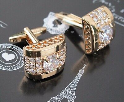 $7.80 • Buy NEW Gold White Crystal Silver Mens Cufflinks Shirt Cuff Links Wedding Party Gift