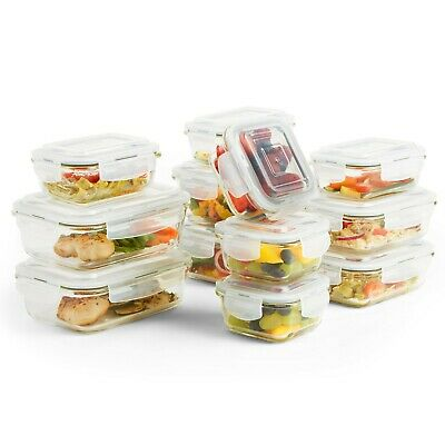 £31.99 • Buy VonShef 12pc Glass Food Storage Containers & 12 Airtight Tupperware Clip Lids