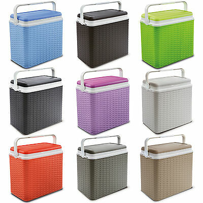 Large 24 Litre Rattan Design Cooler Box Lunch Picnic Beach Cool Ice Pack Option • 15.99£