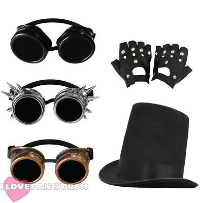 £9.99 • Buy 3 Piece Steampunk Stovepipe Hat, Goggles + Gloves Victorian Sci-fi Fancy Dress