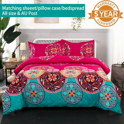 AU38.14 • Buy Oriental Mandala Duvet Quilt Doona Cover Set Queen King Single All Size Bohemian
