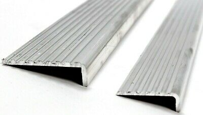£14.30 • Buy ALUMINIUM Stair Nosing FLUTED ANGLE Anti Slip Edging For Stairs Steps  2 Sizes