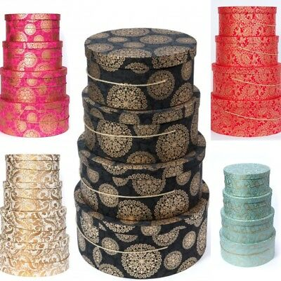 £21.99 • Buy New Large Decorative Round Hat Boxes Fancy Design Storage Gift Single Or Sets