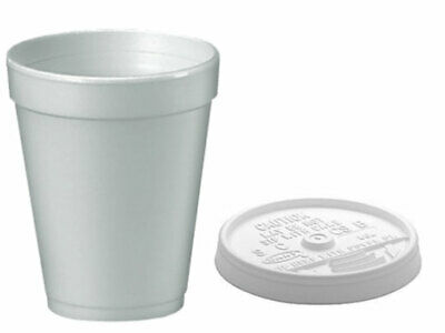 Dart 7oz, 10oz, 12oz White Polystyrene Insulated Foam Poly Cups & Lids • 10.99£