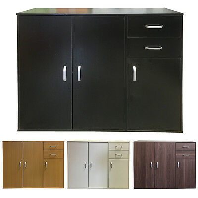 Black Household Steel Sideboard and Assemble Dining Room Cupboard Metal Bedroom Storage Cabinet Large Space Garage Organizer 3-Layers Living Room Cabinet