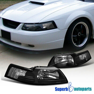 $72.18 • Buy For 1999-2004 Ford Mustang Head Lights Corner Lamps Black