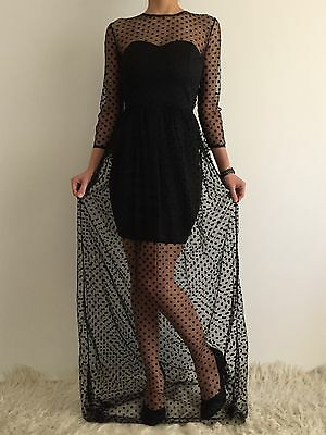 AU29.50 • Buy Women's 3/4 Sleeve Black Polka Dotted Mesh Maxi Formal Eve Cocktail Party Dress