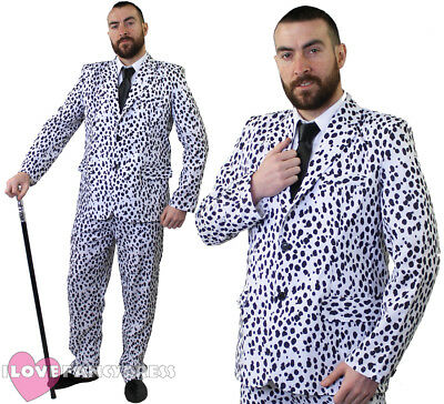 £21.99 • Buy Dalmatian Print Suit Mens Fancy Dress Jacket And Trousers Dog Halloween Costume