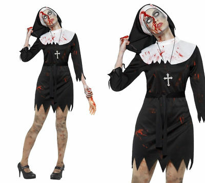 Womens Zombie Nun Costume Ladies Sister Adult Halloween Fancy Dress Outfit New • 12.99£