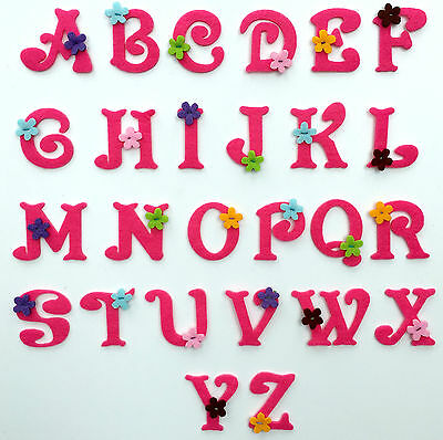 £0.99 • Buy Girls Pink Felt Alphabet Letters Embroidered Motif Fabric Iron On Patch Badge