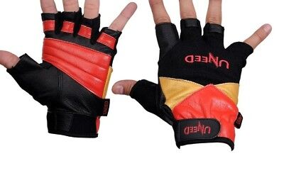 £4.99 • Buy Uneed Gold Leather Gym Weight Lifting Gloves Body Building Exercise Training