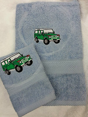 Personalised Land Rover Towel Set Gift Pres Transport Bath Towel And Face Cloth • 19.99£