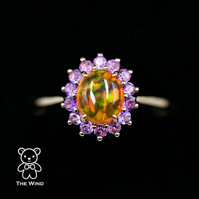 £596.22 • Buy Beautiful Color Mexican Fire Opal Amethyst Engagement Halo Ring 18K Yellow Gold